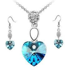 Crystal Heart Rhinestone Necklace Earring Jewelry Set 6 Colors