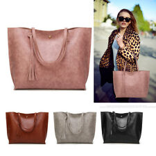 Women Handbag Shoulder Bag Tote Messenger Tassel Casual PU Leather Large