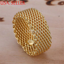 18K Yellow Gold Filled Unisex flexible Mesh 10mm wide Somerset Band Ring Y241