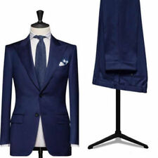 Vintage Navy Tuxedos Men Suits Two Button Groomsmen 38 40 42 44 46 48+ Custom