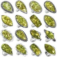 925 Sterling Silver Natural Mohave Peridot Ring Size 5 6 7 8 9 10 11 yV800