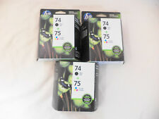 Lot Of (6) GENUINE HP 74 / 75 Black and Tri-Color Ink Cartridges EXPIRED 2016