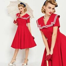 Vintage 50s pinup rockabilly Red Nautical Inspired Dress pinup rockabilly unique