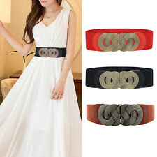 Fashion Lady Womens Waistband Metal Elastic Stretch Buckle Wide Lady Waist Belt