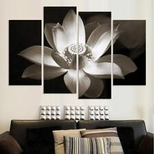 4 Panel White Flower Floral Wall Picture Panel Wall Art Print For Living Bed Roo