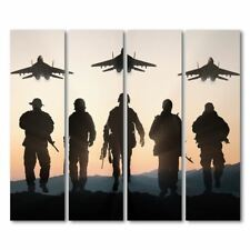 4 piece canvas military jet airplane army at sunset wall art on canvas panel pri