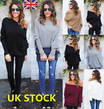 Plus Size Women Off Shoulder Long Sleeve Knitted Sweater Tops Jumpers Pullover