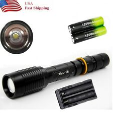 Tactical 12000LM  5-Mode T6 LED Flashlight torch 2x18650+1xCharger Outdoor  USA