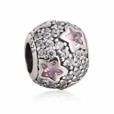authentic Sterling Silver Pink Star Pave CZ Charms European Bead Fit Bracelets