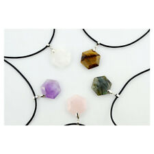Gemstone Hexagonal Prism Quartz Crystal Amethyst Healing Pendant Fit Necklace