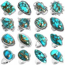 925 Sterling Silver Copper Blue Turquoise Ring Size 5 6 7 8 9 10 11 gY464