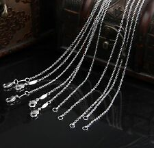 Rolo Chain Necklace Accessory Wholesale Silver Plated 1mm 16-24Inch Necklaces