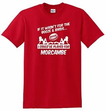 MORECAMBE FAN THEMED BOOZE AND BIRDS T-SHIRT
