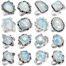 925 Sterling Silver Natural Rainbow Moonstone Ring Size 5 6 7 8 9 10 11 lz648
