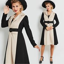 Vintage 40s 50s rockabilly pin up Black Velvet and Khaki Trench Jacket Dress