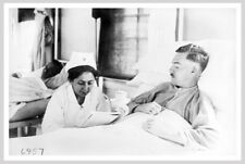 WWI Red Cross Nurse Reading At Bedside Of Wounded Soldier Silver Halide Photo