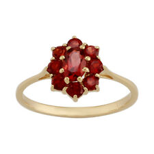 9ct Yellow Gold 0.81ct Natural Garnet Classic Oval Cluster Style Ring