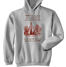 AMERICAN NATIVE INDIAN HATE YOU - NEW COTTON GREY HOODIE