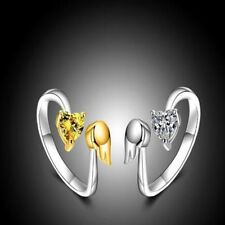 Fashion Women Adjustable Size Angel Wings Love Heart Adjustable Ring Ring