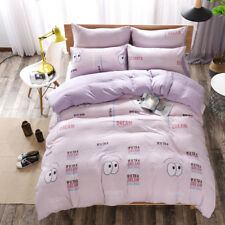 Purple Smile Bedding Quilt Cover Washed Cotton Bed Sheet Pillowcase Bed Set