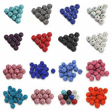 100Pcs CZ Crystal Rhinestone Pave Clay Disco Ball Loose Beads Finding Craft 10MM