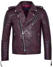 Brando Men's Real Soft Leather Jacket Biker Style Cherry Quilted Slim Fit 2250