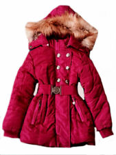 NEW GIRL'S WINTER PADDED COAT WITH HOOD & FUR DARK PINK SIZE 4 TO 14 YEARS