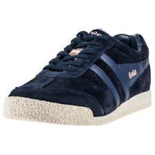 Gola Harrier Glimmer Womens Blue Suede Casual Trainers Lace-up Genuine Shoes