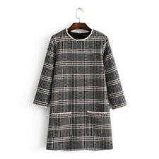 Women Plaid Pattern New Style Vintage Loose Three Quarter Sleeve Mini Dress
