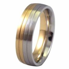 316L Stainless Steel Half Silver Gold Tone Wedding Ring 6mm Wide Band Size 5-15