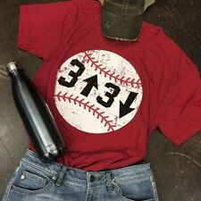 Womens Ladies Red Baseball Casual Short Sleeve Tops Shirt Loose Tee T-Shirt