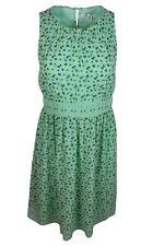 Max Studio Green Floral Fit And Flare Smocked Dress Sleeveless Women $138 NWT