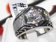 1606 Mens Stainless Steel impressive SIMULATED DIAMOND signet pinky RING MANS