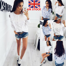 Women Long Sleeve Button Down Shirt Casual Loose OL Office Blouse Ruffled Tops