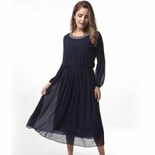 Women Fashion Long-sleeved Beading Draped Chiffon Fabric A-line Dress