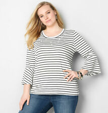 AVENUE Pearly Striped French Terry Top Womens Plus Size