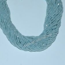 """Natural Aquamarine Gemstone Beads Rondelle Faceted Cut 13"""" Strand Beads"""