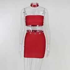 Women Sleeveless Red Blue Color Strapless Polyester Material Above Knee Mini Dre