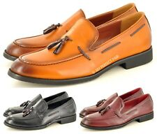 Men's Faux Leather Retro Vintage Style Smart Casual Tassel Loafers Shoes UK 7-11