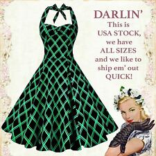 US STOCK Vintage 50s unique Black and Green Plaid Halter Swing Tea Dress