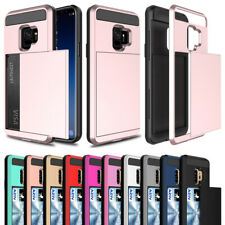 For Samsung Galaxy S6 S7 S8 S9 Plus Note 8 9 Slide Card Holder Case Hybrid Cover