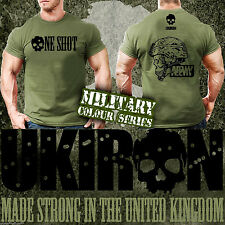 UKIRON *ONE SHOT* Military Workout ARMY T-SHIRT Gym Sniper Soldier MUSCLE top UK