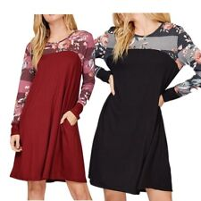 Womens Long Sleeve Tunic Tops Mini Dress Floral Sleeve Striped Baggy Blouse Top
