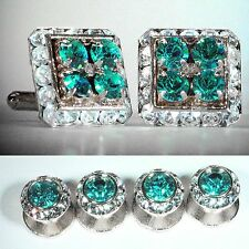 BLUE ZIRCON SQUARE CUFFLINKS & ROUND STUDS TUXEDO SET MADE W/SWAROVSKI CRYSTALS