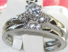 694 SOLITAIRE  WOMENS SIMULATED DIAMOND RING WEDDING BAND SET STAINLESS STEEL