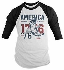 Shirts By Sarah Men's Vintage America 1776 Eagle Freedom Pride T-Shirt 4th July