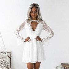 Women White Color Long Sleeve V Neck Mini Dot Lace Decorated Casual Beach Dress