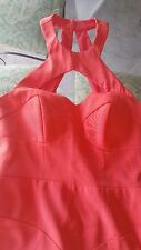 NWT NICOLE MILLER Taylor Red Coral Silk Halter Neck Bandage Cutout Dress $385
