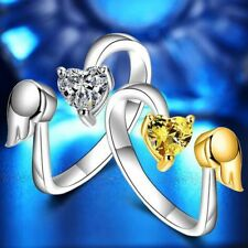 Opening Engagement Jewelry Ring Adjustable Ring Angel Wings Love Heart