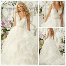 New White Ivory Appliques V-neck Tiered Wedding Dress 2 4 6 8 10 12 14 16 18 R62
